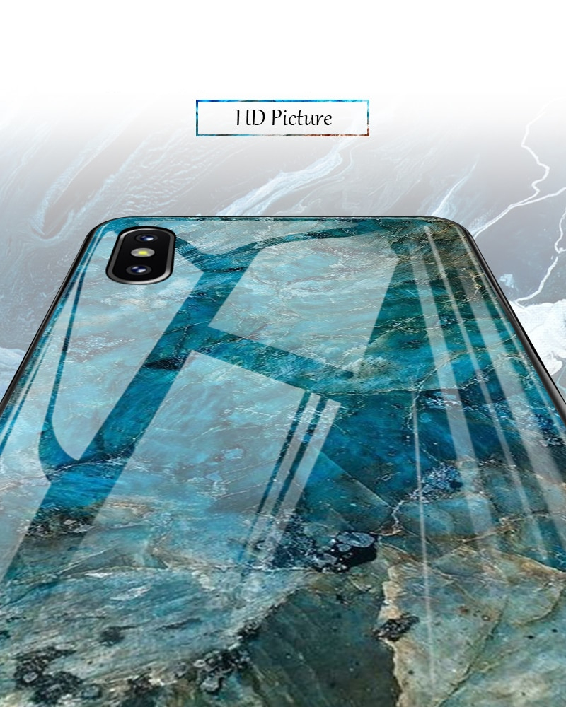 TOMKAS Luxury Marble Phone Case for iPhone X 10 Tempered Glass PC Agate Back Cover Silicone Soft Edge Coque Case for iPhone X (4)