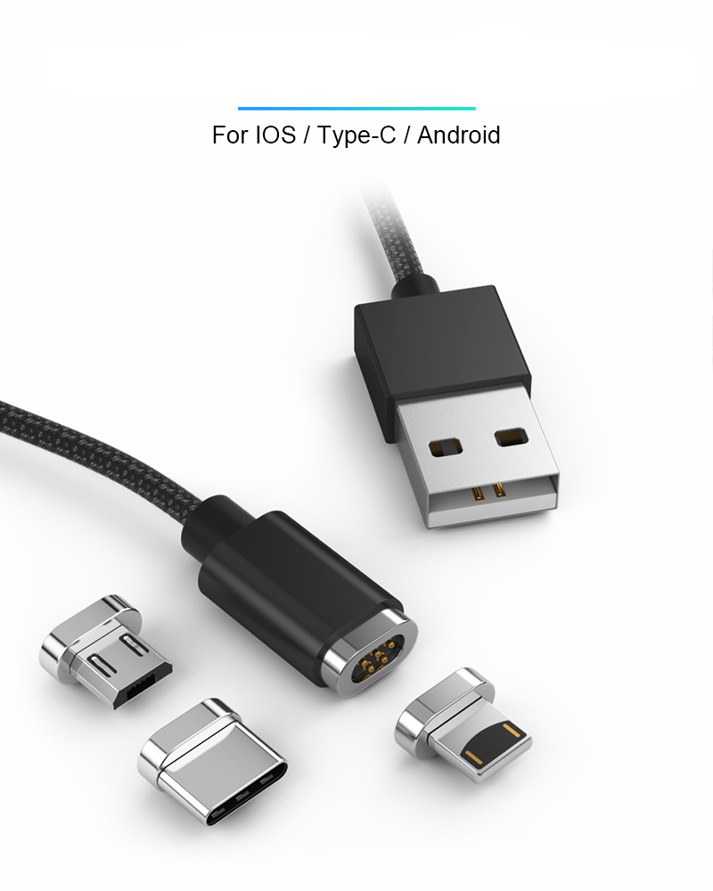 Magnetic Cable Micro USB Type C For iPhone LED Lighting Cable Fast Charger Type-C 1M Magnet Charger USB C Cables Charging Wire